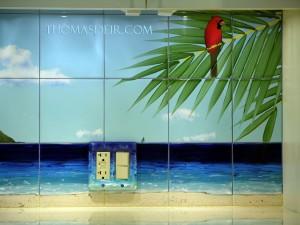 tile mural artwork Kitchen backsplash details