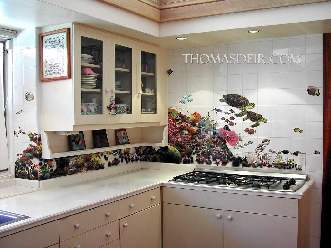 Kitchen Reef Scene White Tile Mural