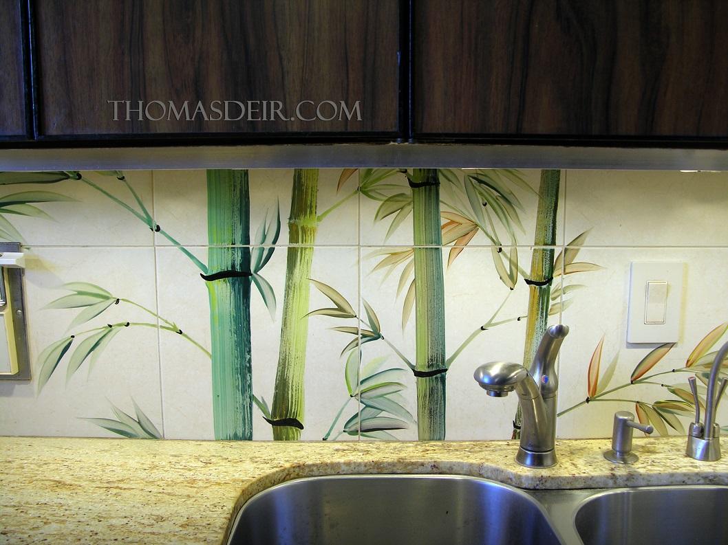 Kitchen Tile Backsplash Bamboo detail