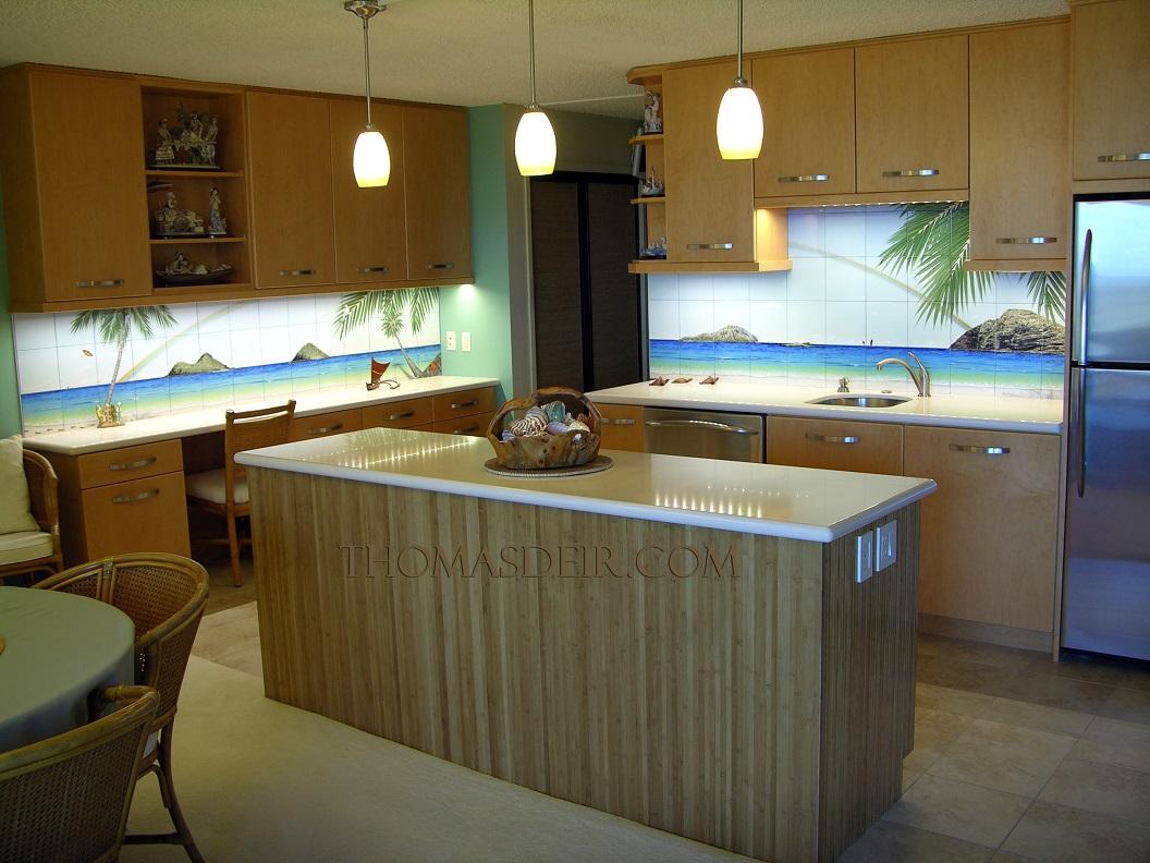 Tropical Beach Kitchen Tile Mural