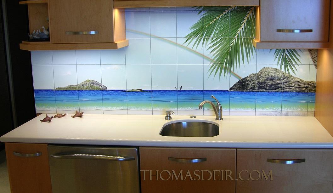 Panorama Tropical Beach Kitchen Tile Art