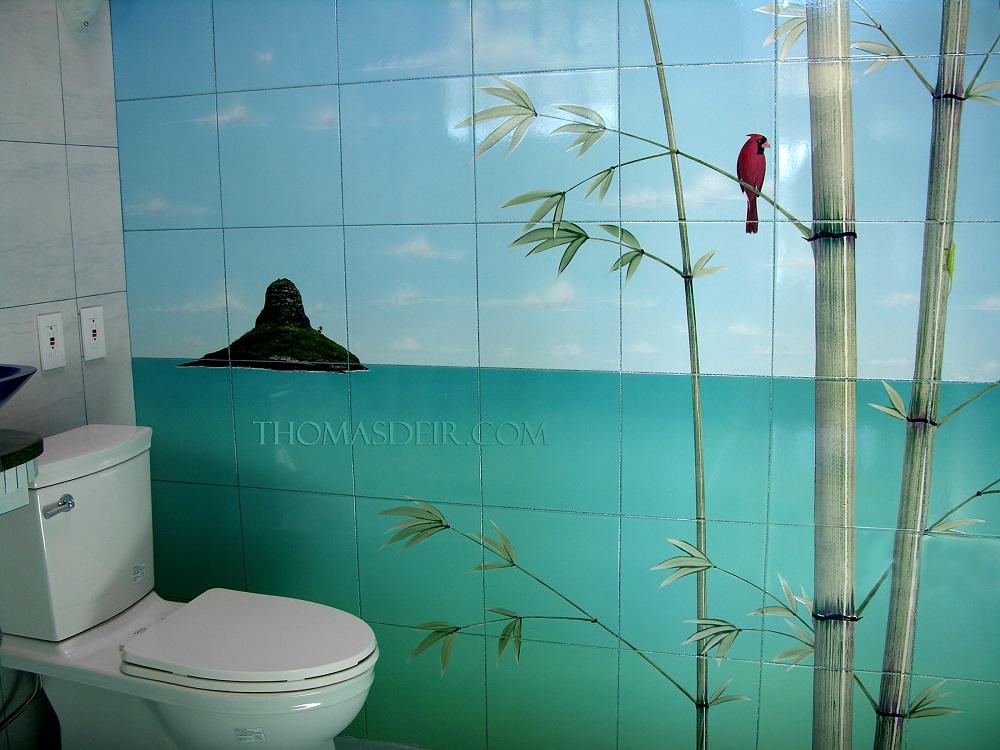 Tile Mural for Showers Tropical Bamboo Beach Scene