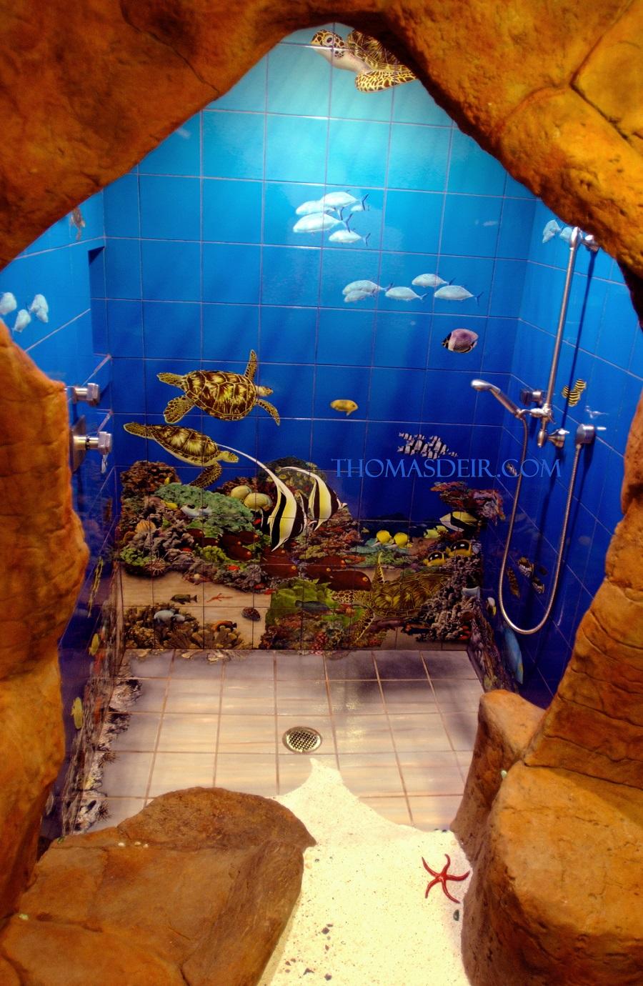 Undersea cave shower tile mural