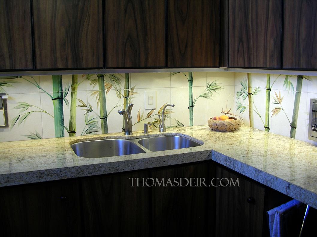 kitchen tile mural bamboo backsplash