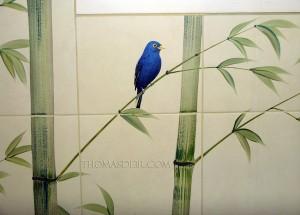 Indonesian Bamboo Shower Indigo Bunting Bird c