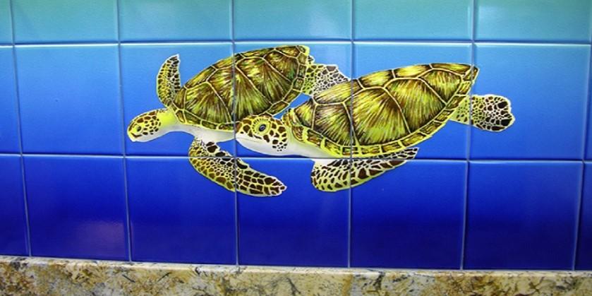 Kitchen Remodel Tile Mural Turtles