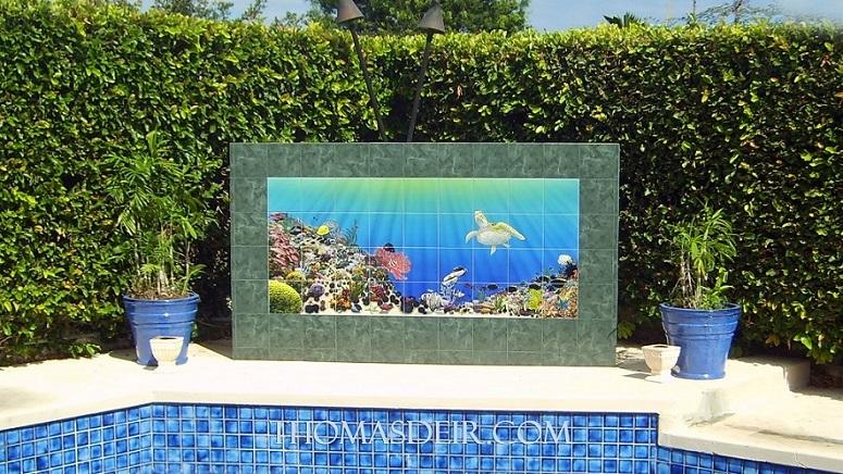 aquarium pool wall tile mural