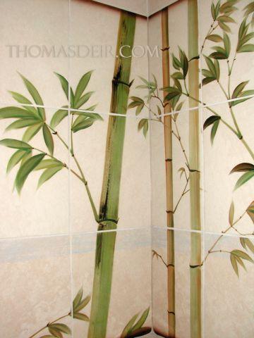 Tile Murals for Bathroom Detail Asian Bamboo