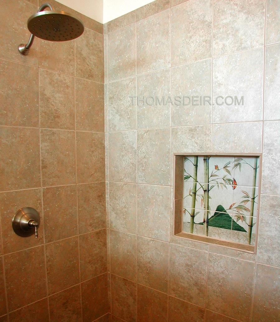Asian bamboo shower tile mural inset
