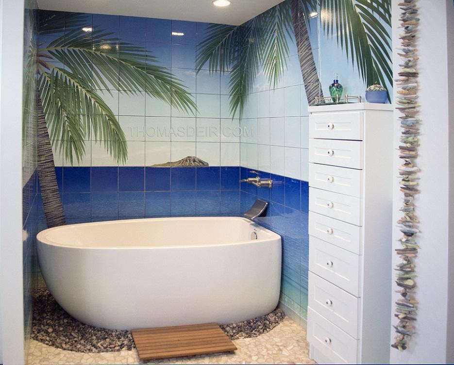 Bathroom Renovation Tropical Oasis Tile Murals