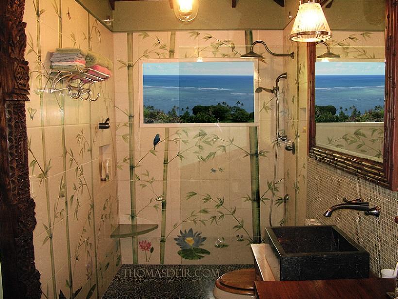 Tile Mural Shower Indonesian Bamboo Shower