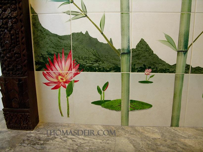 Lotus flower tile mural shower detail Indo bamboo design