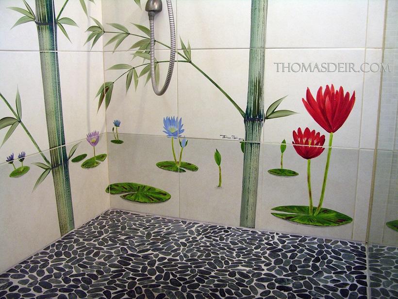 Tile Mural Shower lotus flowers bamboo Detail Bamboo