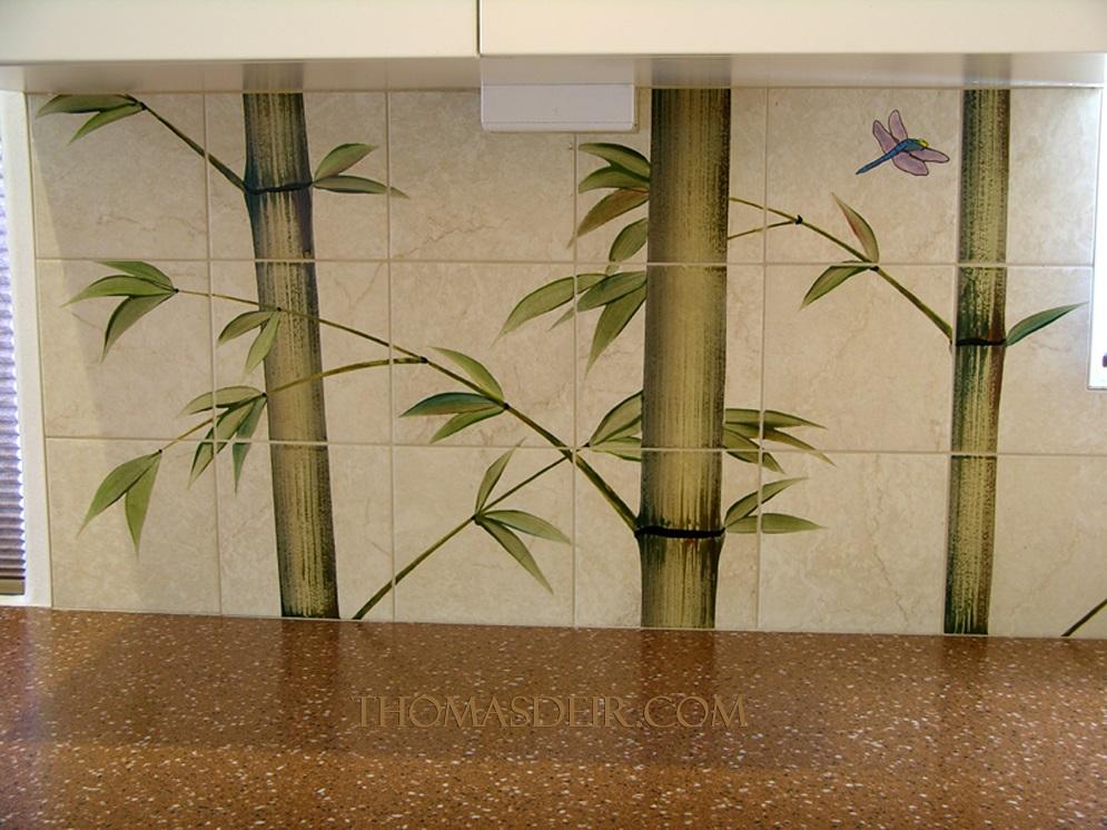 Indonesian bamboo kitchen tile mural