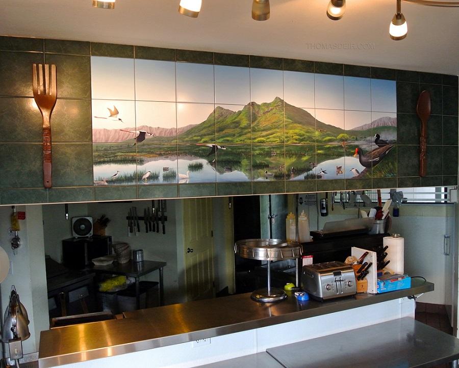 tile mural reproduction restaurant soffit