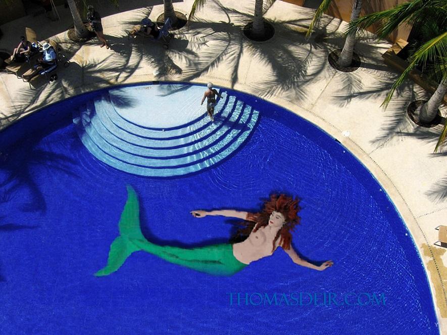 mermaid painting pool tile mural