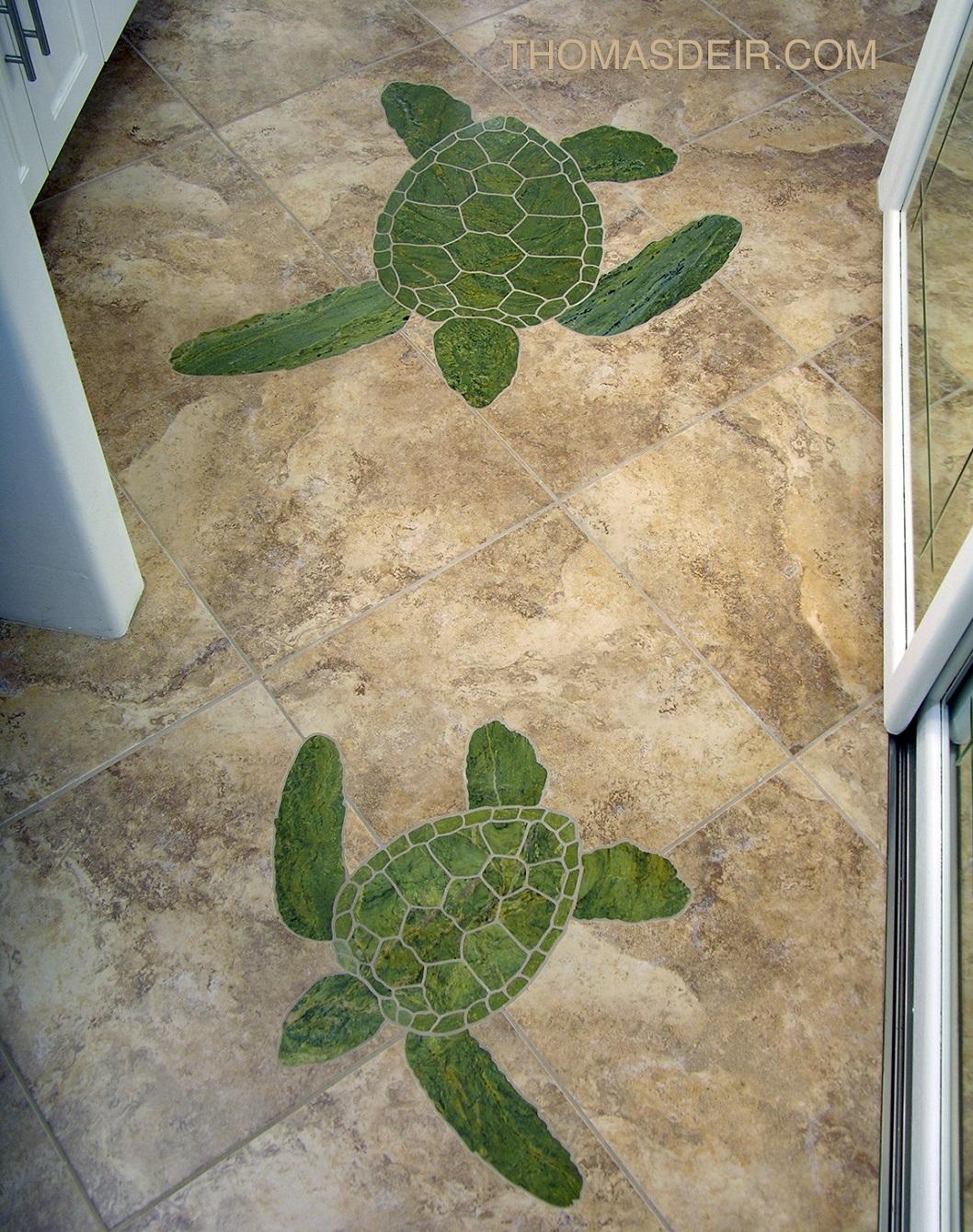 mosaic bathroom floor mural with sea turtles