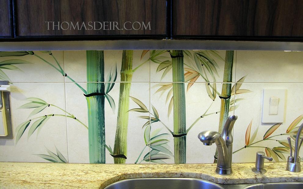 bamboo kitchen tile mural backsplash-detail