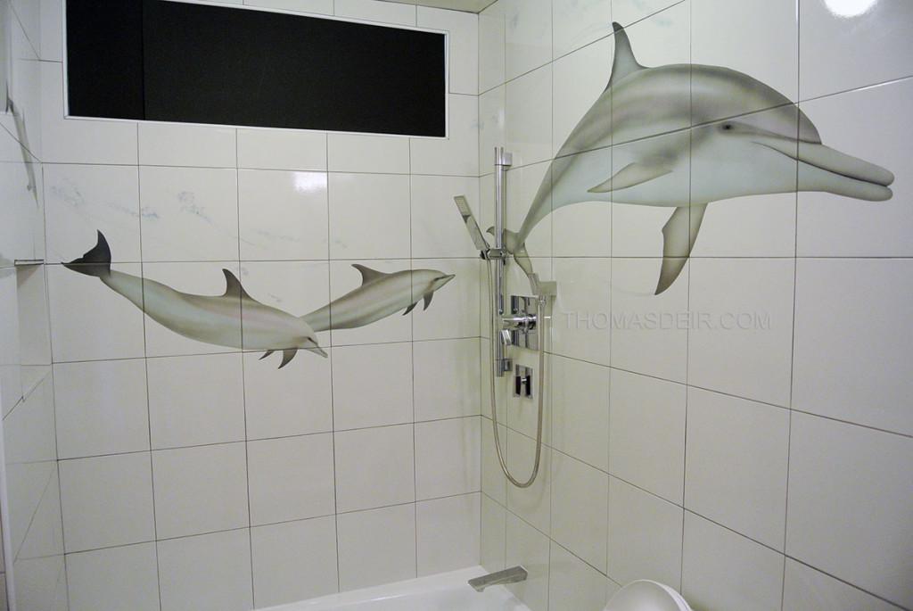 Dolphin art on tile murals thomas deir honolulu hi artist for Dolphin bathroom design