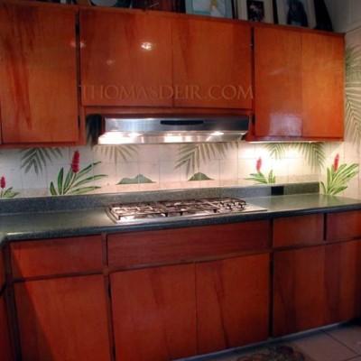 Kitchen Backsplash Tile Murals Hawaiian Red Ginger