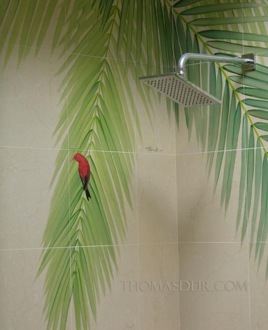 Tile mural shower Hawaiian bird painting detail