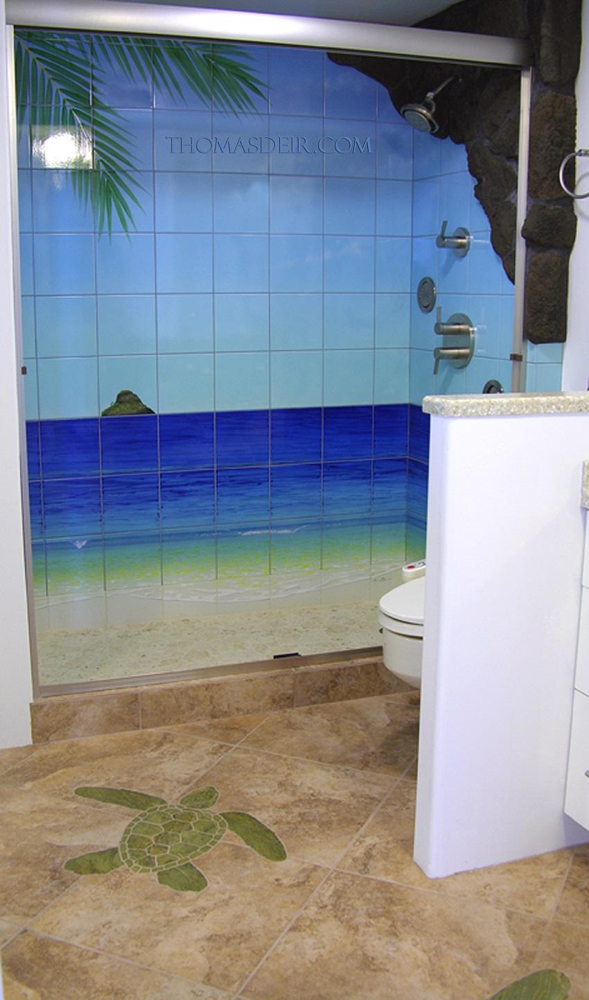 Bathroom Tile Murals Tropical Beach