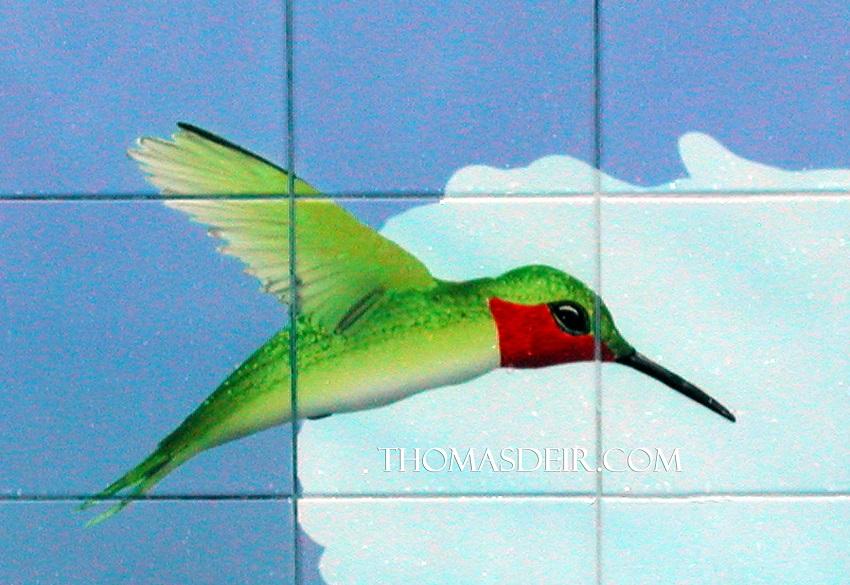 Tile Mural detail of Hummingbird
