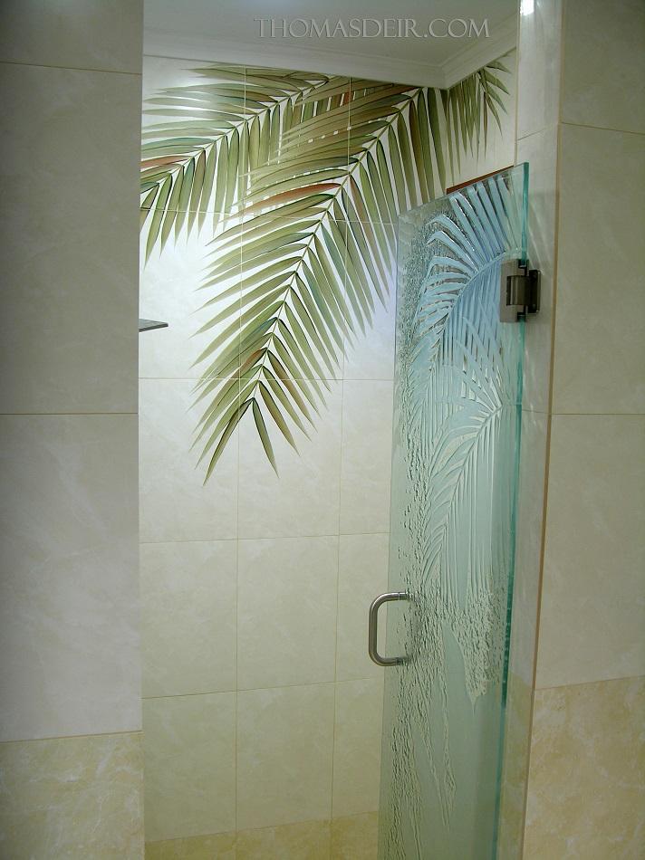 Bathroom Tile Design Ideas Tile Murals: Bath And Shower Designs: Tile Murals With Coconut Tree