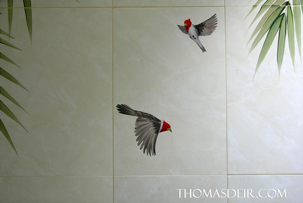 Tropical Birds Painting On Tile Murals Thomas Deir