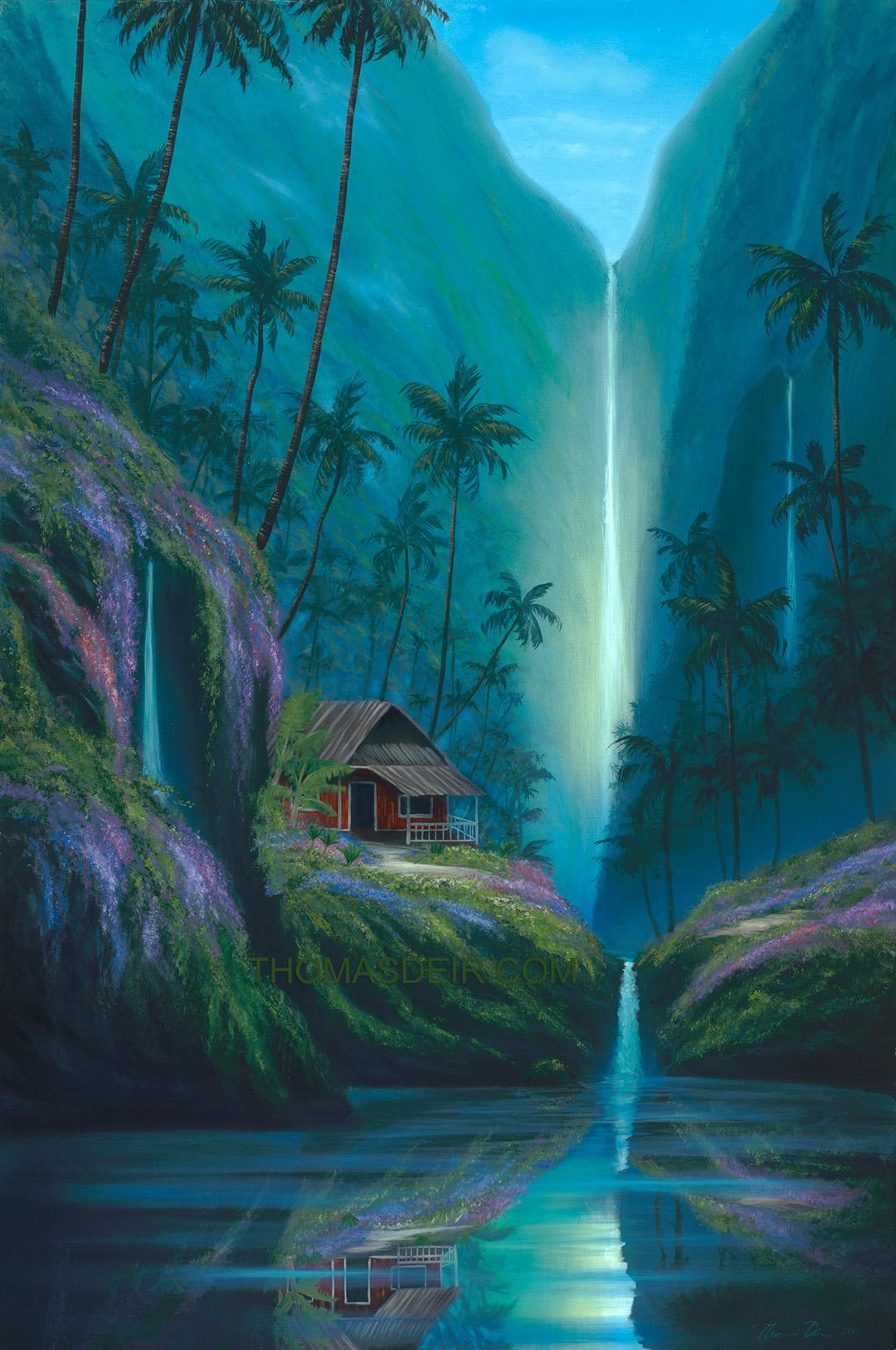 Tropical Waterfall Painting by Honolulu Hawaii Artist